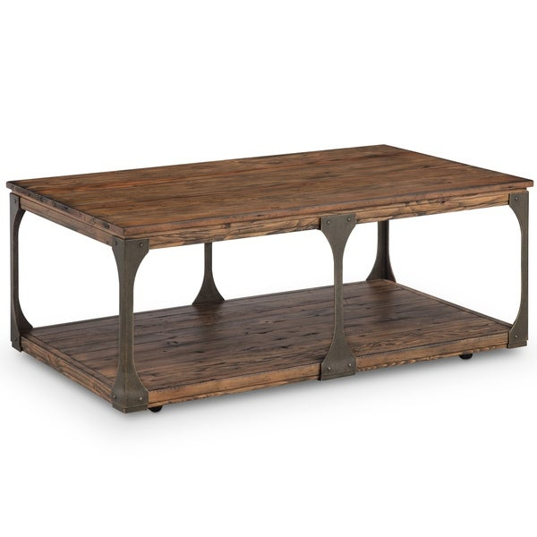 Featured Image of Montgomery Industrial Reclaimed Wood Coffee Tables With Casters