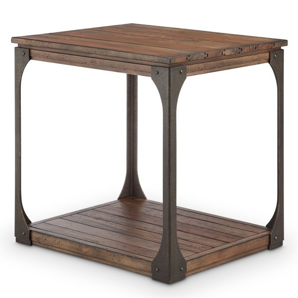 Montgomery Industrial Bourbon Reclaimed Wood Rectangular End Table With Regard To Montgomery Industrial Reclaimed Wood Coffee Tables With Casters (View 6 of 50)