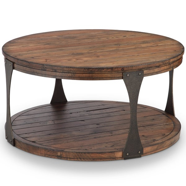 Montgomery Industrial Reclaimed Wood Coffee Table With Casters Pertaining To Montgomery Industrial Reclaimed Wood Coffee Tables With Casters (View 2 of 50)