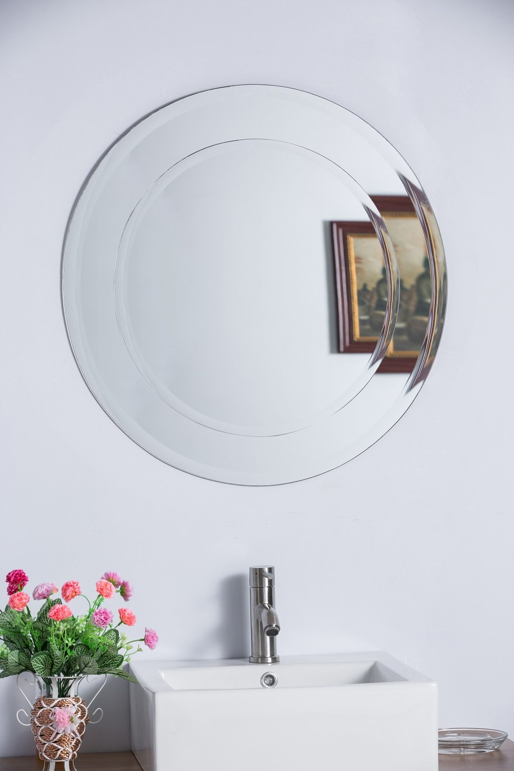 Moreno Bathroom/vanity Mirror Pertaining To Celeste Frameless Round Wall Mirrors (View 12 of 20)