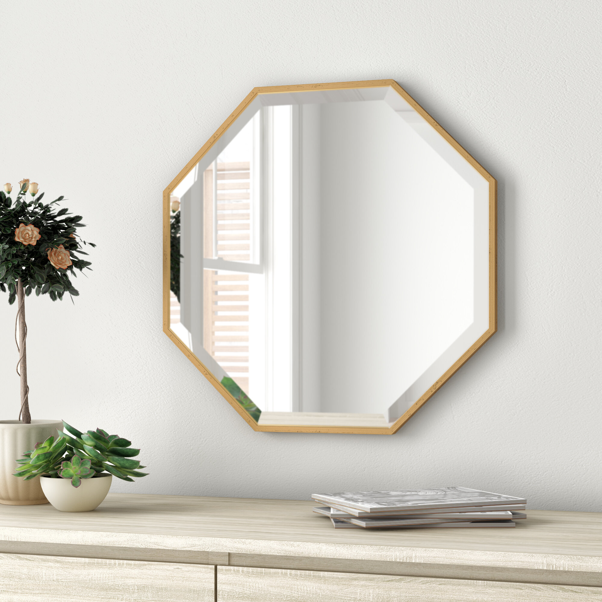 Morganton Modern & Contemporary Beveled Accent Mirror In Dekalb Modern & Contemporary Distressed Accent Mirrors (Image 12 of 20)