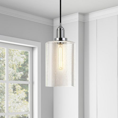 Naor Nickel Pendant Light With Seeded Glass | Home Things For Hermione 1 Light Single Drum Pendants (View 18 of 25)