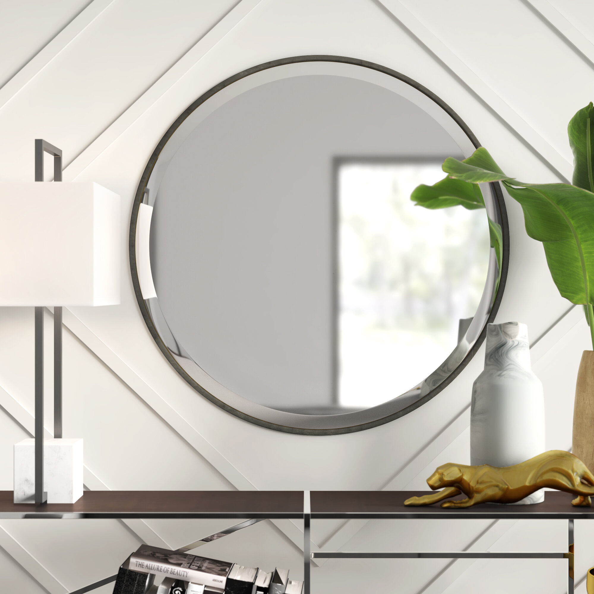 Narrow Accent Mirror | Wayfair For Dekalb Modern & Contemporary Distressed Accent Mirrors (View 13 of 20)