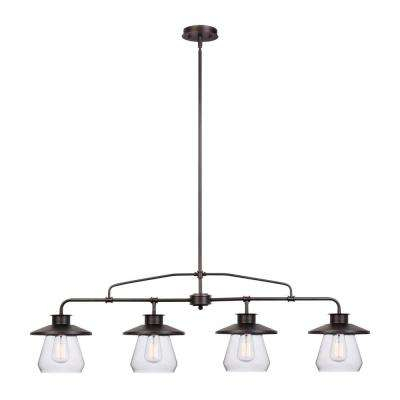 Nate 4 Light Oil Rubbed Bronze Industrial Vintage Pendant Throughout Schutt 4 Light Kitchen Island Pendants (View 15 of 25)