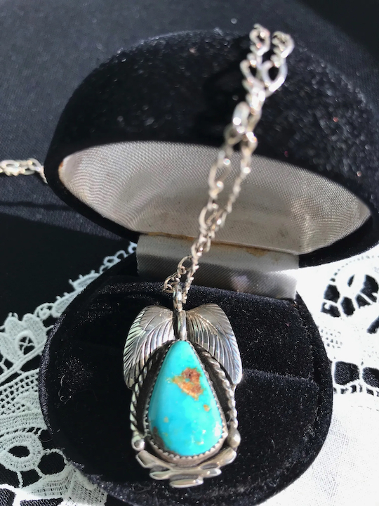 Navajo Bernice Bonney Sterling Turquoise Pendant Necklace Pertaining To Berenice 3 Light Cluster Teardrop Pendants (View 13 of 25)