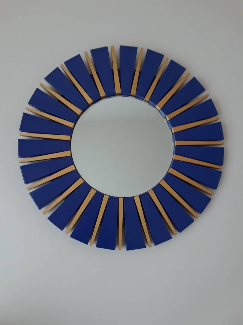 Navy Blue And Gold Sunburst Round Wall Mirror For Deniece Sunburst Round Wall Mirrors (Image 9 of 20)