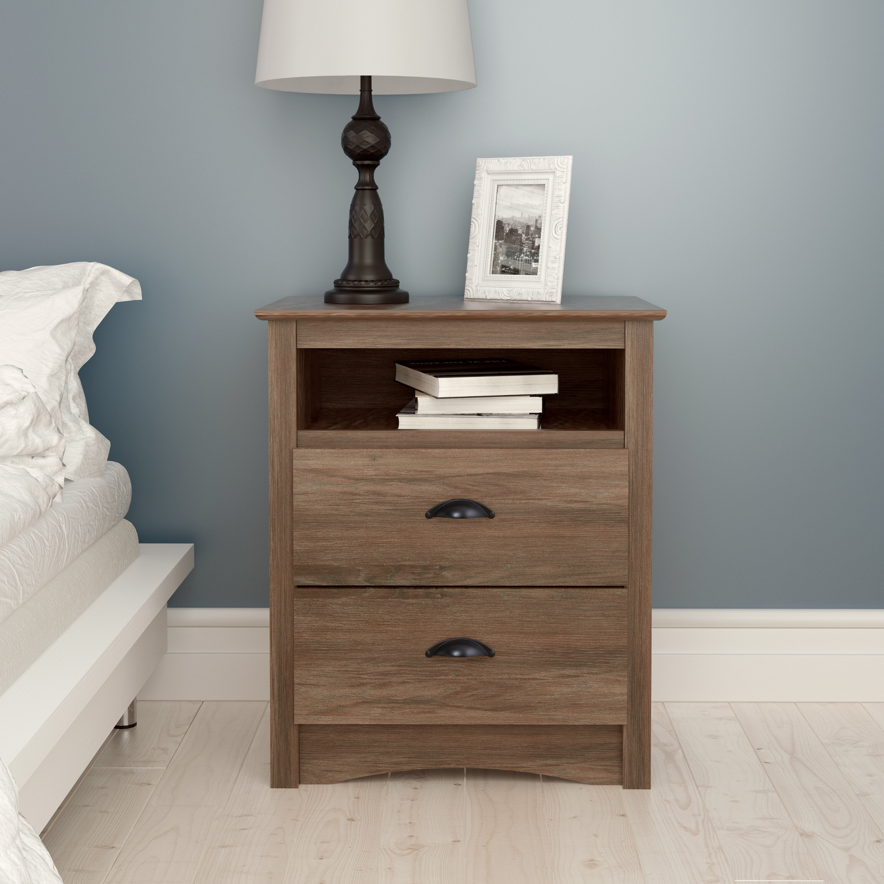 Nelda 2 Drawer Nightstand In Diamondville Modern & Contemporary Distressed Accent Mirrors (Image 17 of 20)