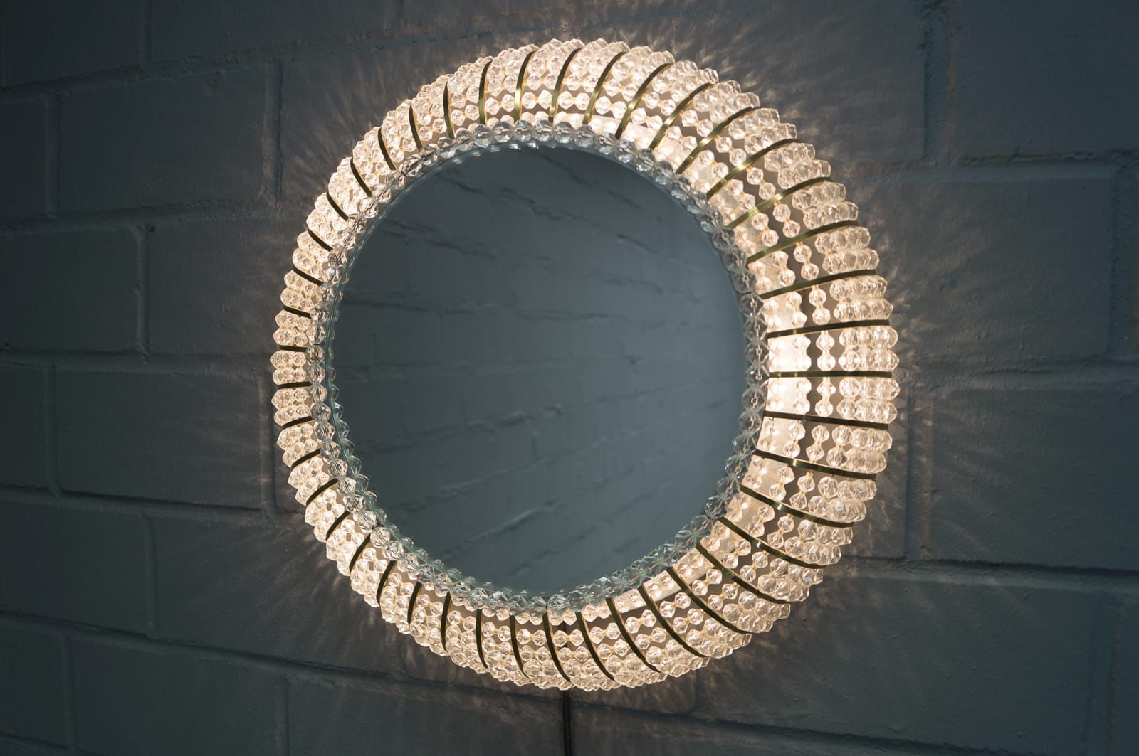 Neoteric Crystal Wall Mirror Glitz Floral Modern Rectangle With Regard To Sajish Oval Crystal Wall Mirrors (View 16 of 20)