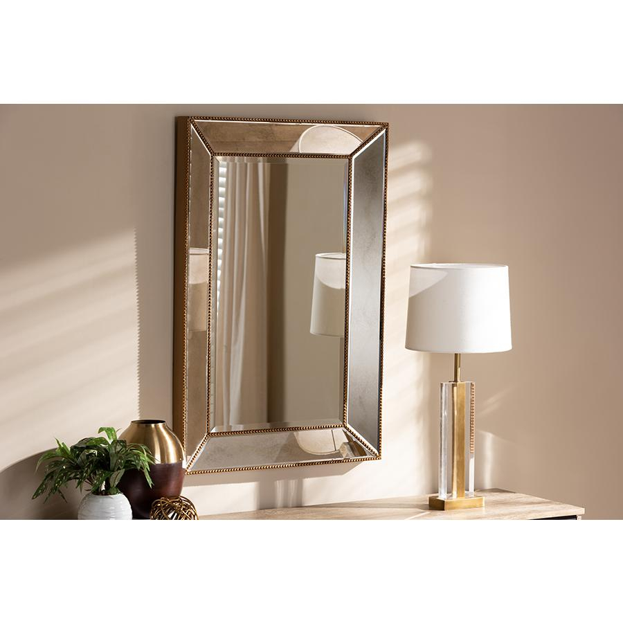 Neva Modern And Contemporary Antique Gold Finished Rectangular Accent Wall Mirrorbaxton Studio Inside Modern Rectangle Wall Mirrors (View 19 of 20)