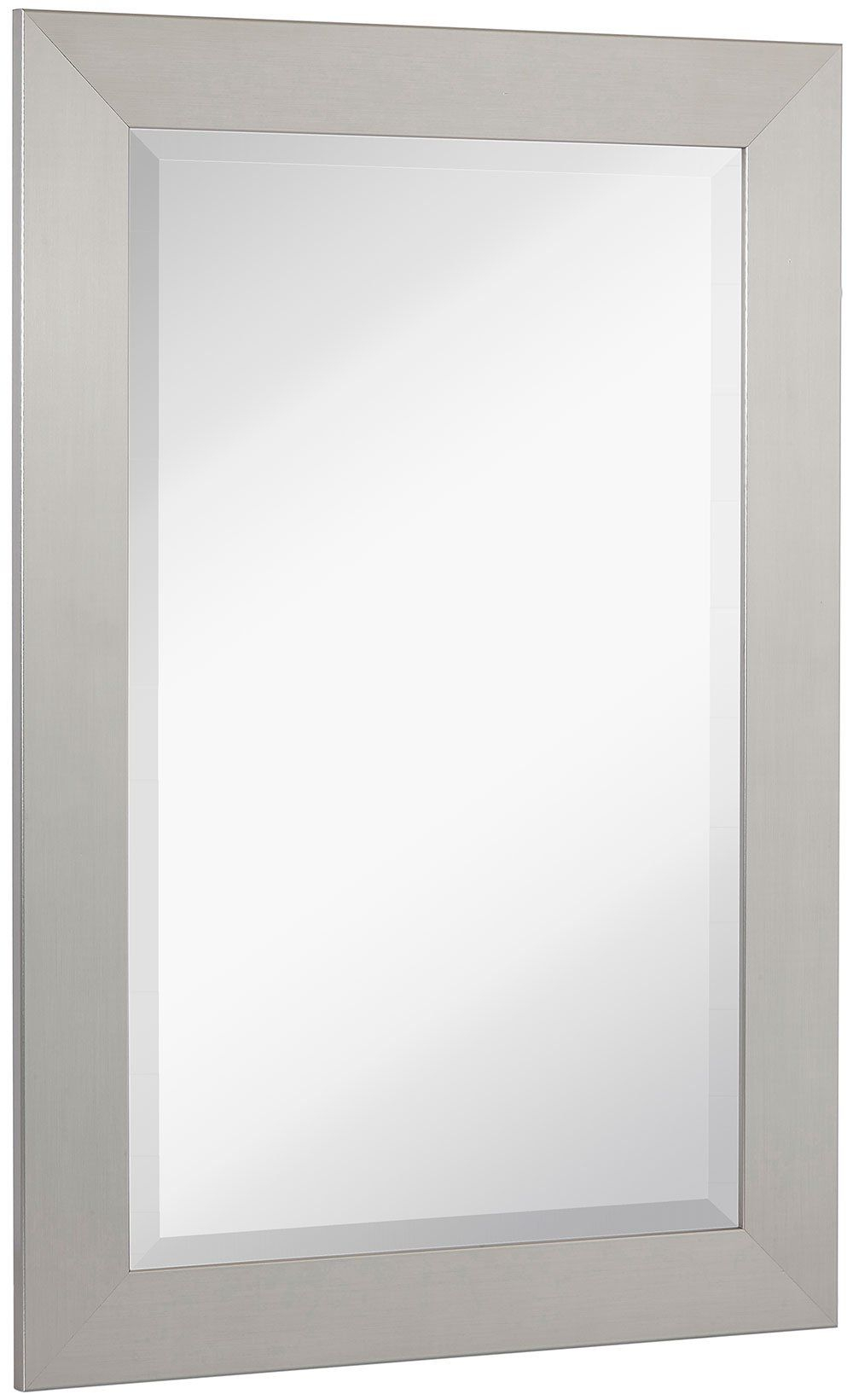 New Pewter Modern Metallic Look Rectangle Wall Mirror With Regard To Rectangle Pewter Beveled Wall Mirrors (Image 15 of 20)