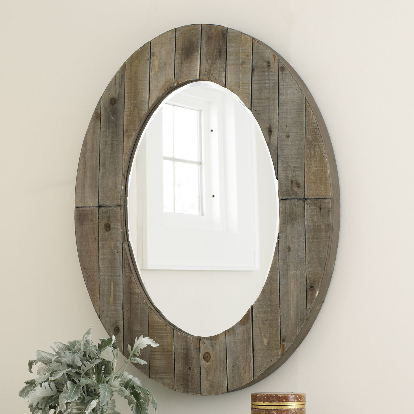 Newson Oval Wall Mirror With Booth Reclaimed Wall Mirrors Accent (Image 13 of 20)