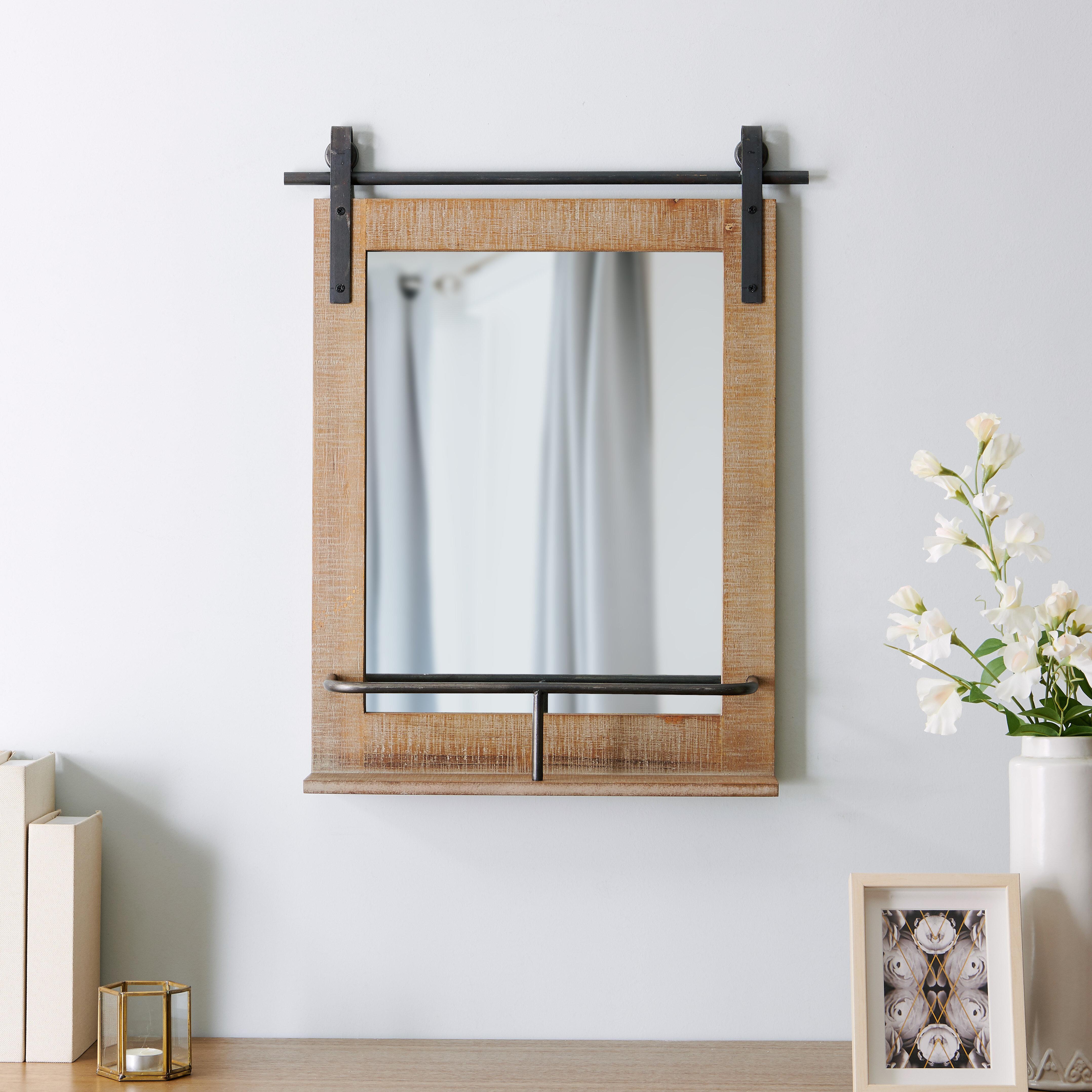 Nielsen Barn Door Rustic Shelves Accent Mirror With Rena Accent Mirrors (Image 15 of 20)
