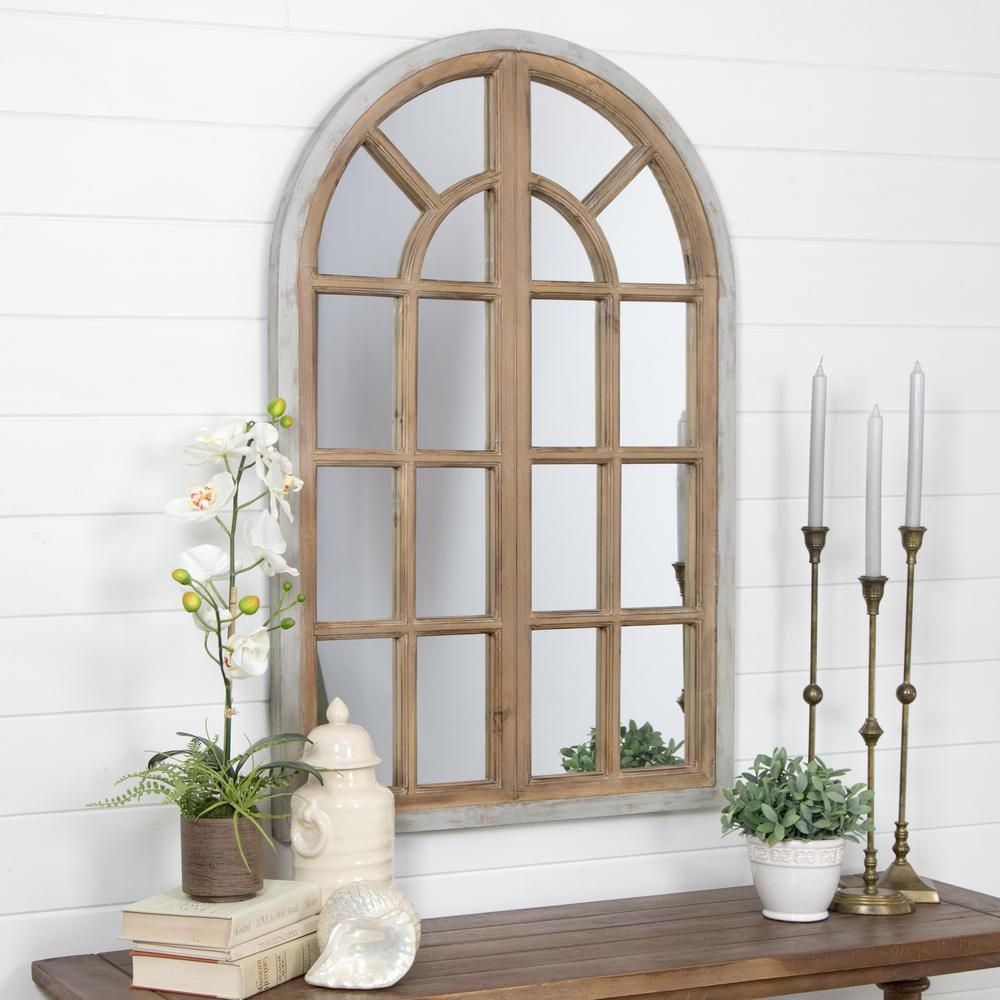 Night Wall White Rustic Frame Decorating Astonishing Decor Within Faux Window Wood Wall Mirrors (View 13 of 20)