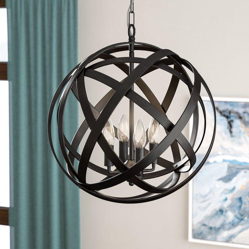 Nilda 4 Light Globe Chandelier In 2019 | Lights | Globe Inside Verlene Foyer 5 Light Globe Chandeliers (View 5 of 20)