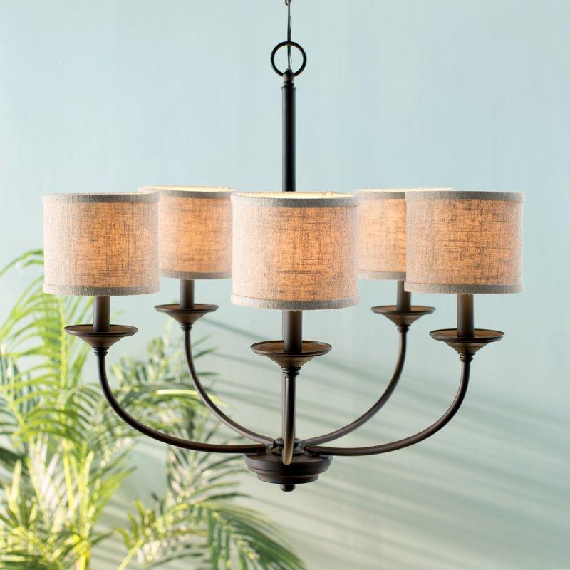 Nisswa 5 Light Shaded Chandelier With Regard To Verlene Foyer 5 Light Globe Chandeliers (View 10 of 20)