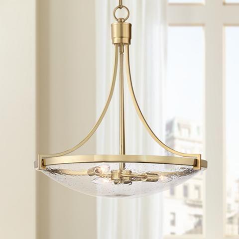 "Norfolk 20 1/2"" Wide Satin Brass 3 Light Bowl Pendant Within Scruggs 1 Light Geometric Pendants (View 23 of 25)"