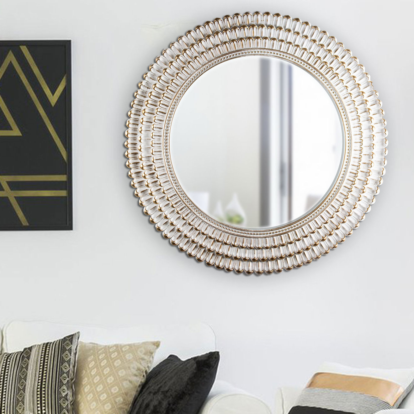 Oakgrove Plastic Frame Round Hanging Wall Coastal Accent Mirror In Karn Vertical Round Resin Wall Mirrors (View 11 of 20)