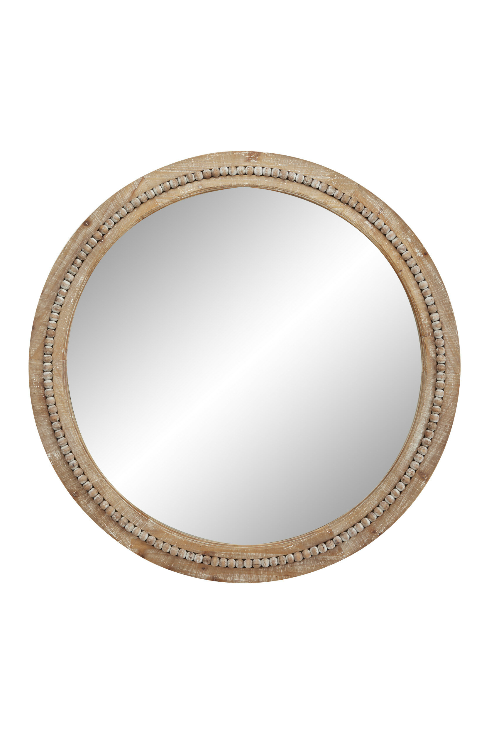 Oakton Round Wood Accent Mirror | Joss & Main Pertaining To Glen View Beaded Oval Traditional Accent Mirrors (View 9 of 20)