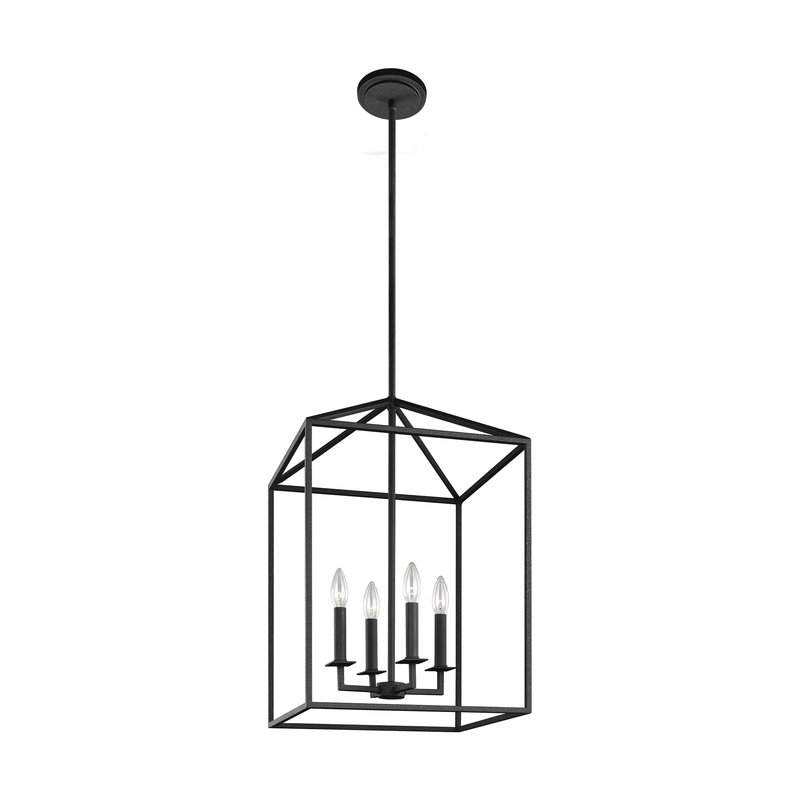 Odie 4 Light Lantern Square/rectangle Pendant Throughout 4 Light Lantern Square / Rectangle Pendants (Image 13 of 20)
