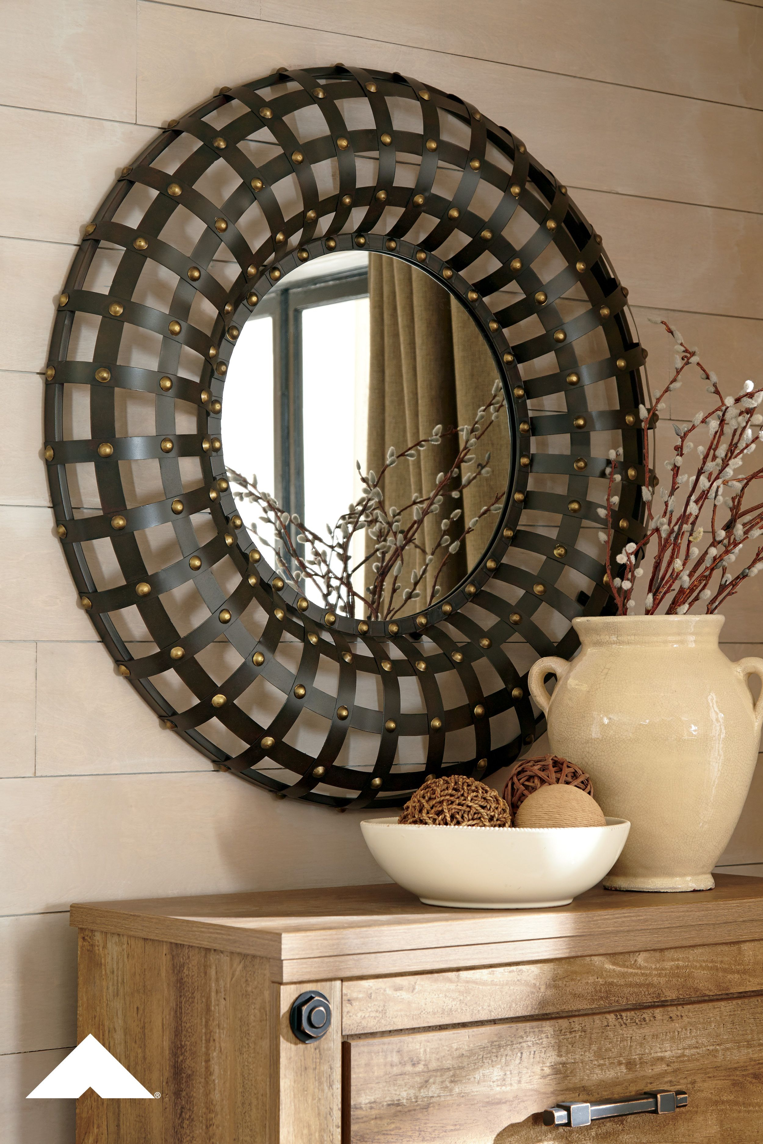 Ogier – Brown/gold Finish – Accent Mirror In 2019 | Autumn Inside Grid Accent Mirrors (Image 18 of 20)