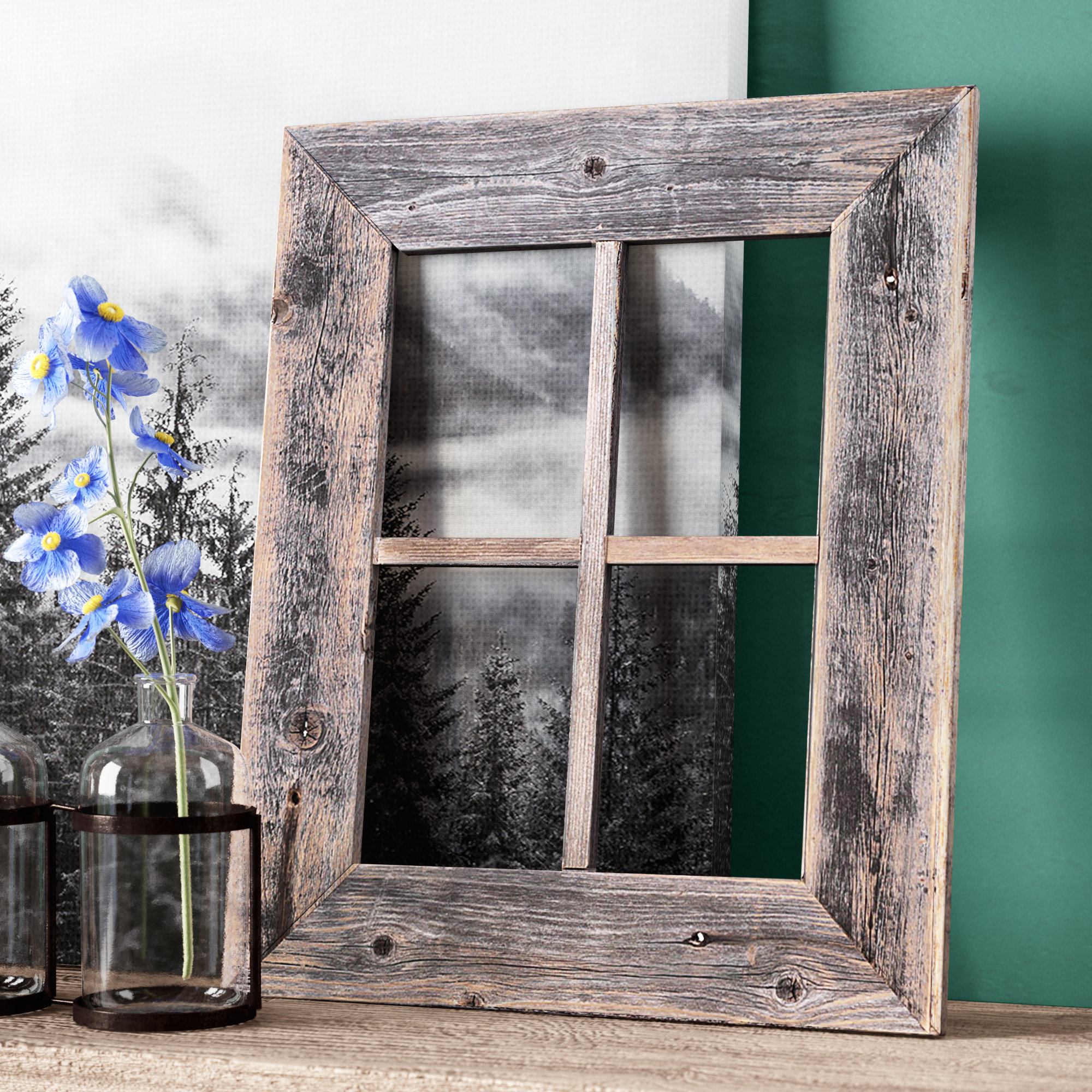 Old Rustic Barn Window Frame Wall Décor Pertaining To Faux Window Wood Wall Mirrors (View 19 of 20)