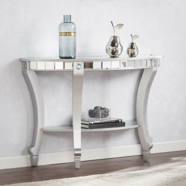 Olivia Glam Mirrored Demilune Console Table – Matte Silver Inside Silver Orchid Olivia Glam Mirrored Round Cocktail Tables (Image 8 of 50)