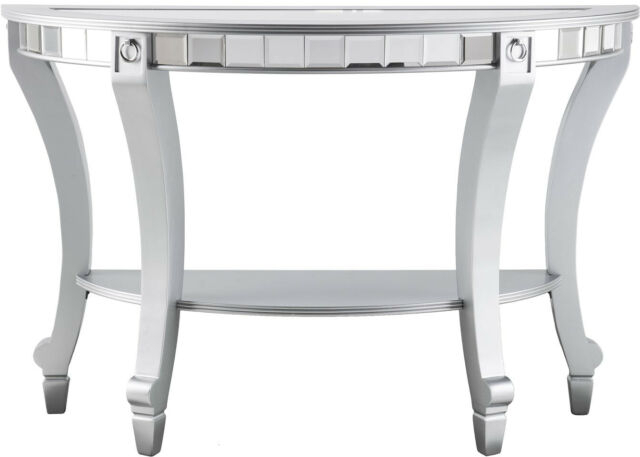 Olivia Glam Mirrored Demilune Console Table – Matte Silver Intended For Silver Orchid Olivia Chrome Mirrored Coffee Cocktail Tables (View 21 of 25)