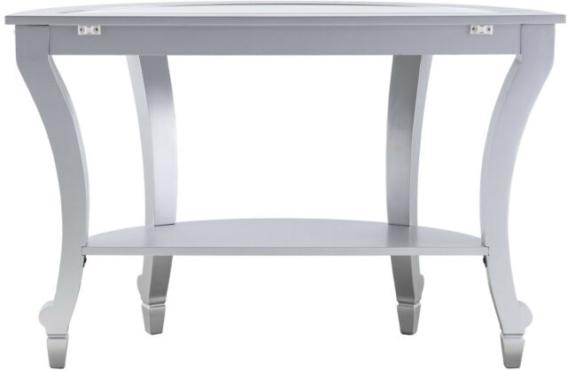 Olivia Glam Mirrored Demilune Console Table – Matte Silver With Silver Orchid Olivia Chrome Mirrored Coffee Cocktail Tables (View 10 of 25)