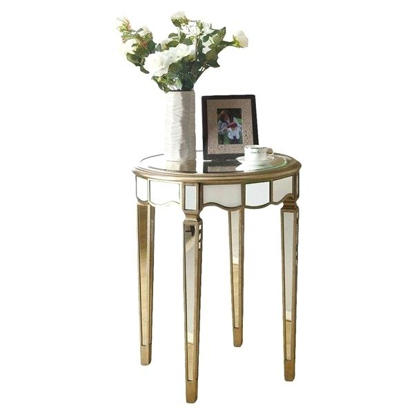 Olivia Mirrored Side Table 30 Round Inch Coffee End White Regarding Silver Orchid Olivia Glam Mirrored Round Cocktail Tables (Image 14 of 50)