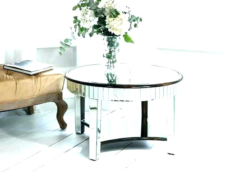 Olivia Mirrored Side Table Round Coffee Stunning Tables 30 Pertaining To Silver Orchid Olivia Glam Mirrored Round Cocktail Tables (View 20 of 50)