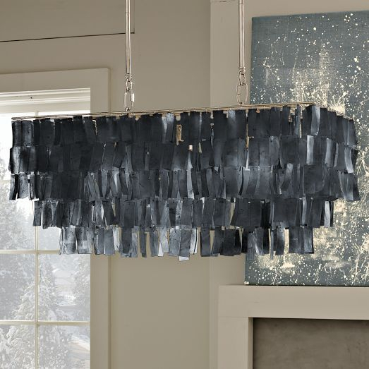 On Sale $175: Large Rectangle Hanging Capiz Chandelier For Ammerman 1 Light Cone Pendants (View 15 of 25)