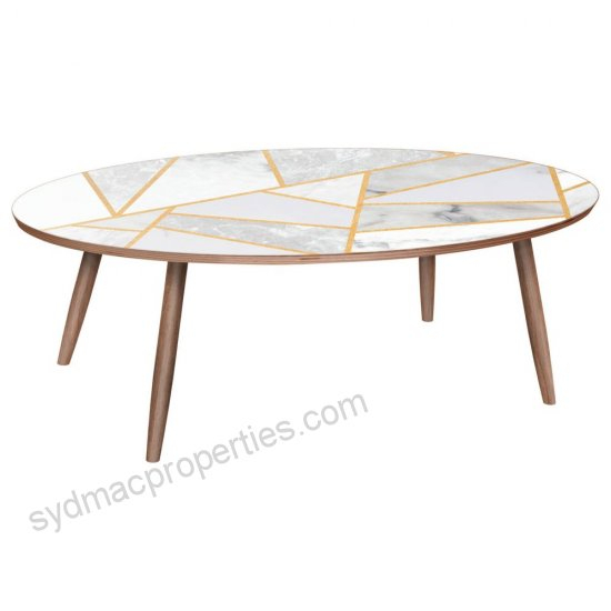Ondine Dowel Coffee Table, Marble Melange – Contemporary In Winslet Cherry Finish Wood Oval Coffee Tables With Casters (View 14 of 25)