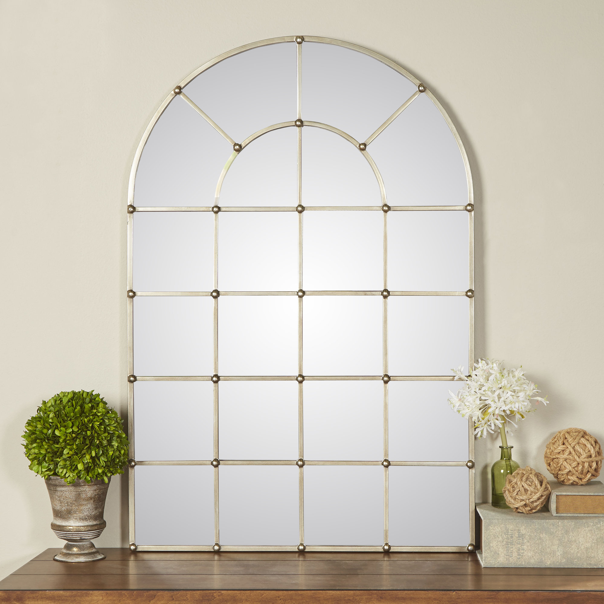 One Allium Way Metal Arch Window Wall Mirror & Reviews Regarding Metal Arch Window Wall Mirrors (Image 17 of 20)