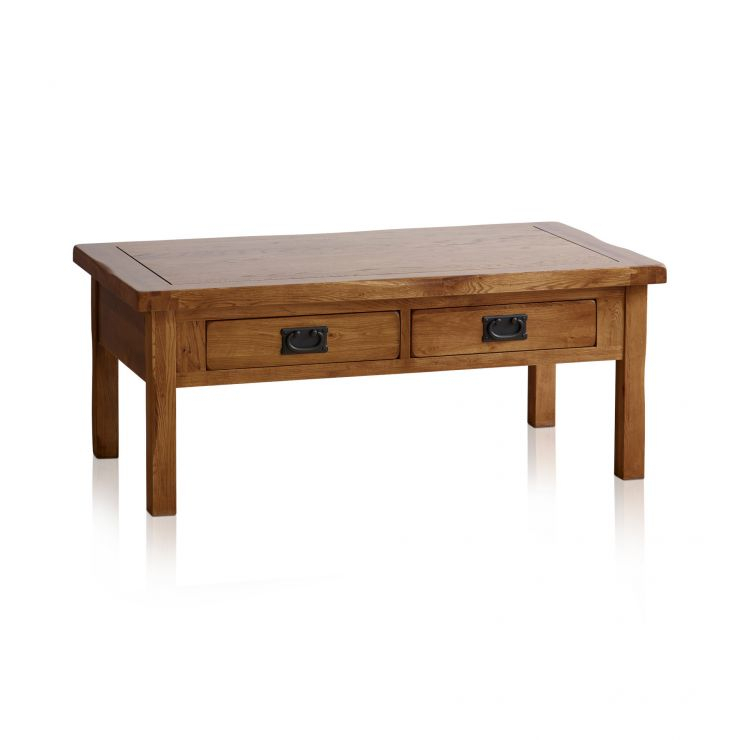 Original Rustic Solid Oak 4 Drawer Storage Coffee Table With Rustic Oak Coffee Tables (Image 11 of 25)