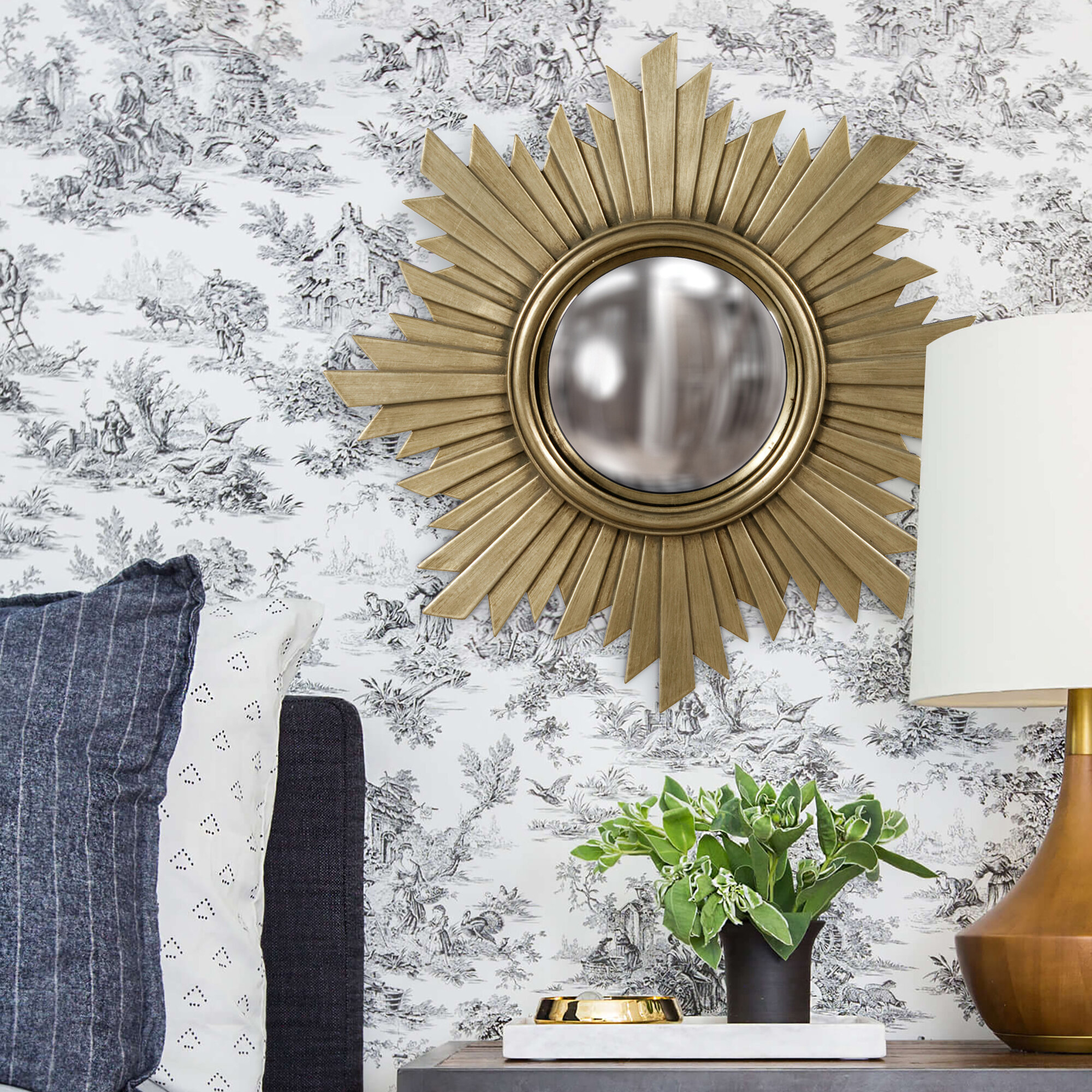 Orman Sunburst Gold Wall Mirror With Regard To Dandre Wall Mirrors (View 15 of 20)