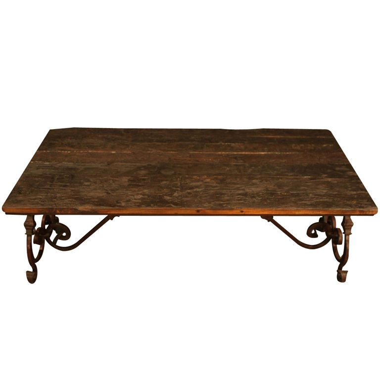 Ornate Wrought Iron And Wood Coffee Table | Wrought Iron With Gracewood Hollow Salinger Prentice Cocktail Tables (View 12 of 25)