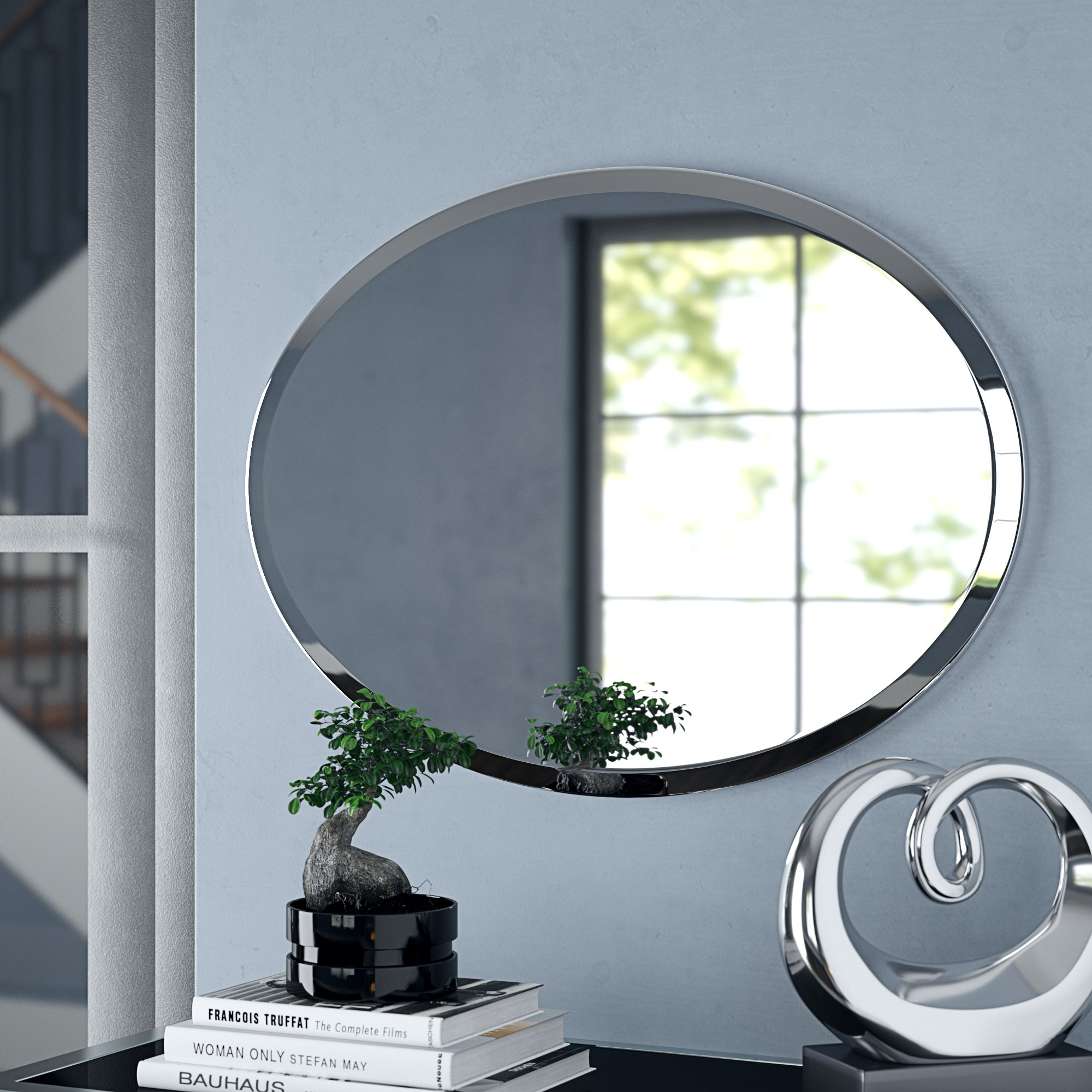 Orren Ellis Provenzano Frameless Beveled Oval Wall Mirror Intended For Thornbury Oval Bevel Frameless Wall Mirrors (View 8 of 20)