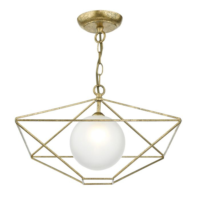 Orsini 1 Light Pendant Antique Gold Opal Glass Shade With 1 Light Geometric Globe Pendants (Image 21 of 25)