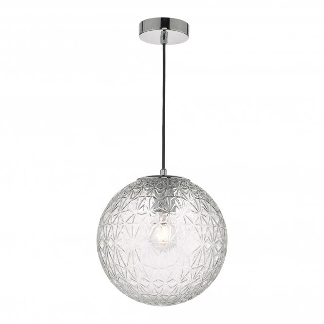 Oss0108 Ossian 1 Light Pendant Polished Chrome And Clear Glass Small Regarding 1 Light Geometric Globe Pendants (Image 22 of 25)
