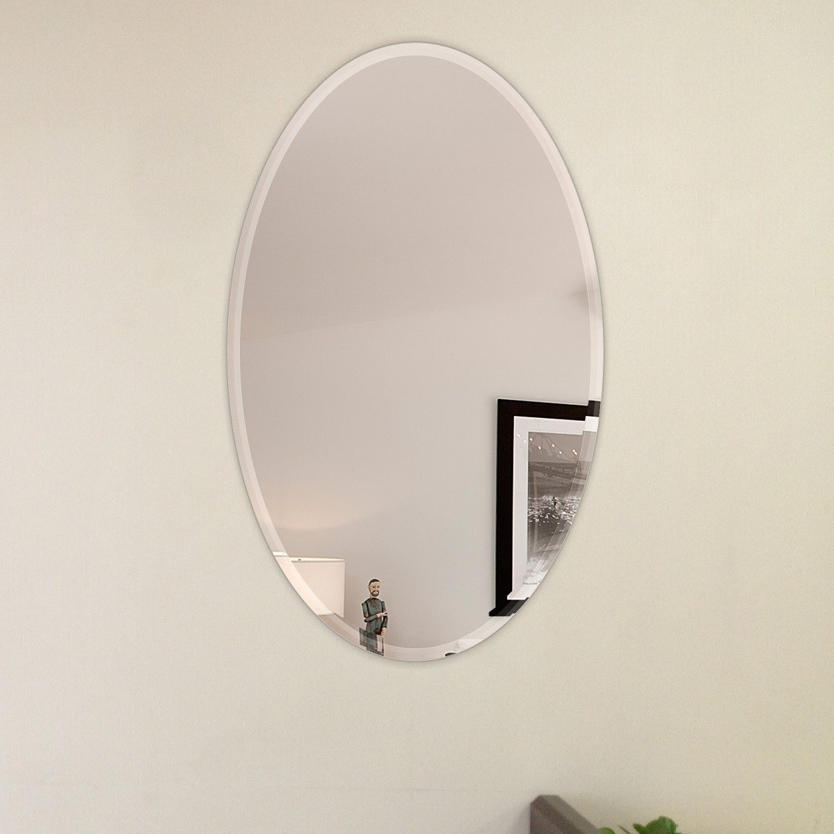 Oval Beveled Polish Frameless Wall Mirror With Hooks With Thornbury Oval Bevel Frameless Wall Mirrors (Image 13 of 20)