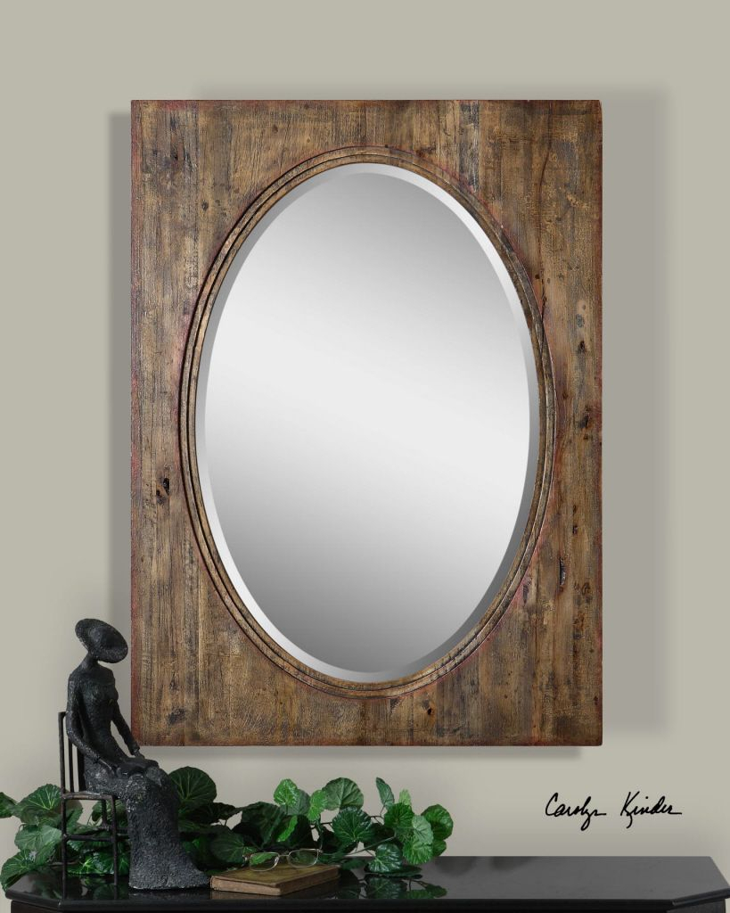Oval Mirror With Distressed Wood Natural Hickory Frame With Regard To Oval Metallic Accent Mirrors (View 9 of 20)