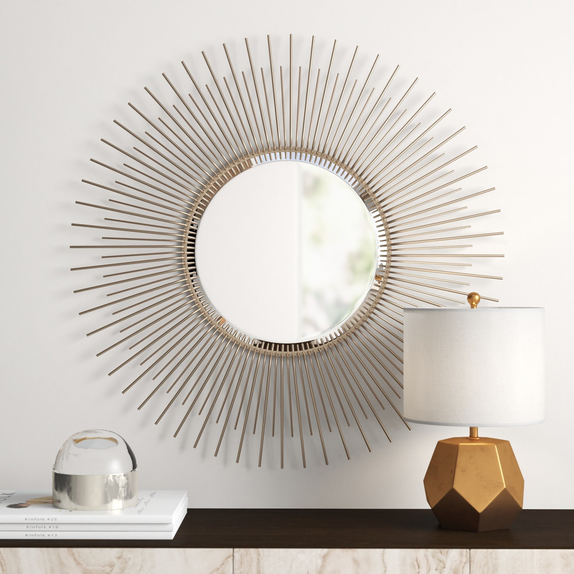 Oversized Sunburst Wood Frame Accent Mirror Within Swagger Accent Wall Mirrors (View 7 of 20)