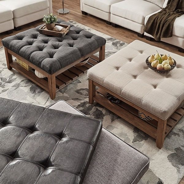Overstock | Lennon Pine Planked Storage Ottoman Coffee Table With Regard To Lennon Pine Planked Storage Ottoman Coffee Tables (View 5 of 25)