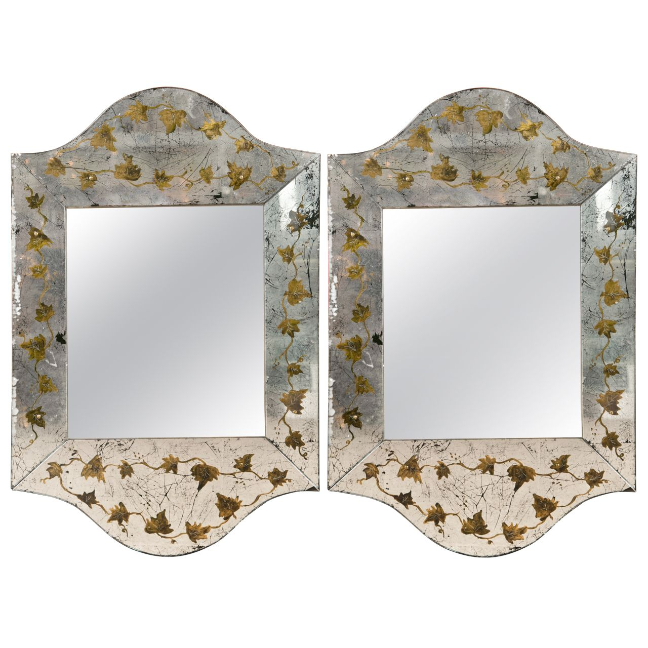 Pair Of Eglomise Glass Scalloped Mirrors | Verre Eglomise Within Dariel Tall Arched Scalloped Wall Mirrors (View 13 of 20)