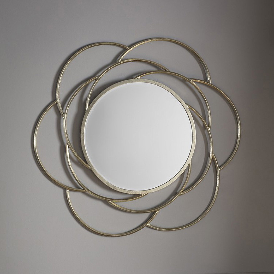 Pale Gold Flower Wall Mirror Throughout Decorative Round Wall Mirrors (Image 14 of 20)