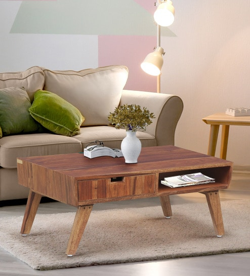 Paloma Solid Wood Coffee Table In Rustic Teak Finishwoodsworth Inside Solid Hardwood Rectangle Mid Century Modern Coffee Tables (View 23 of 50)