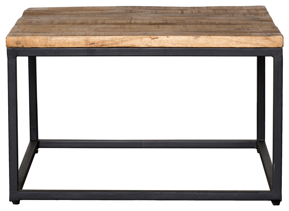 Featured Image of Paris Natural Wood And Iron 30 Inch Square Coffee Tables