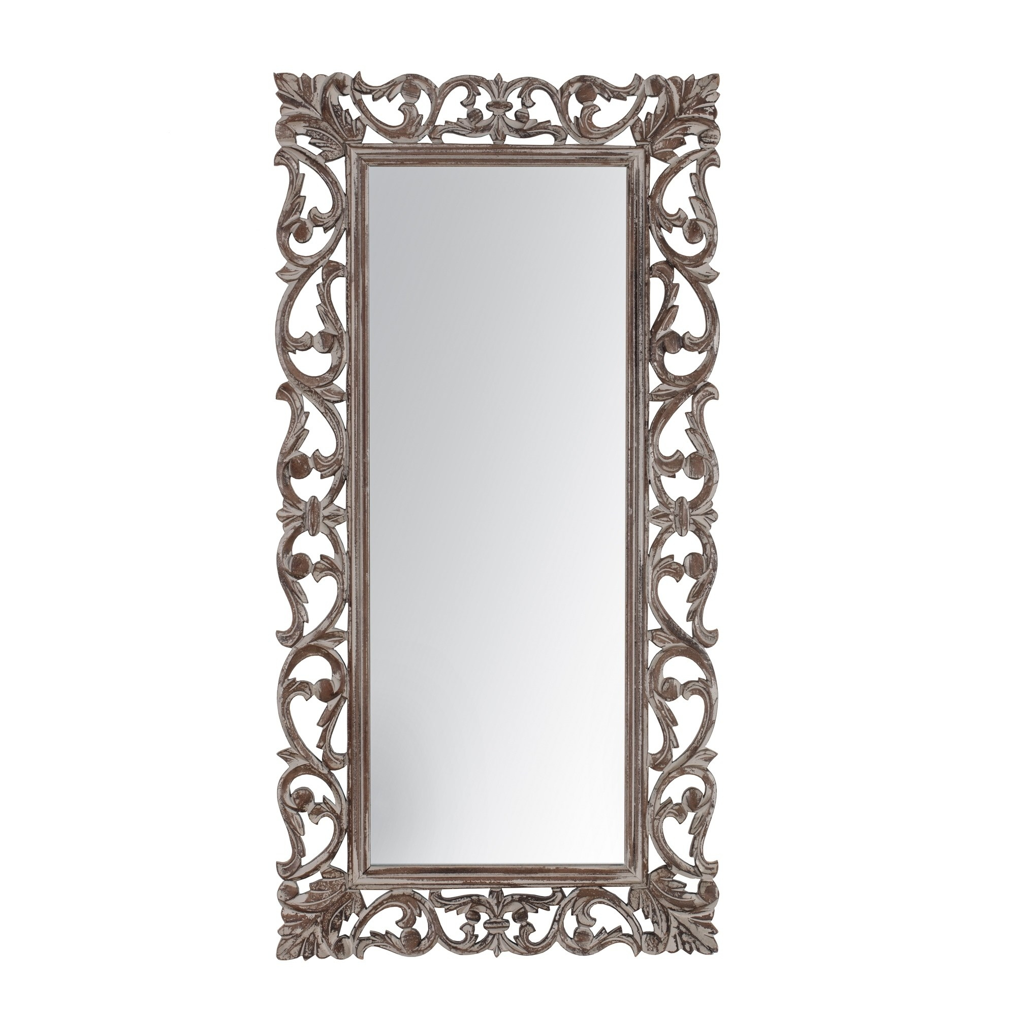 """Passo Grey Carved Mirror 18""""x36"""" – A/n, Gray, Madeleine Home In Dedrick Decorative Framed Modern And Contemporary Wall Mirrors (Image 15 of 20)"""