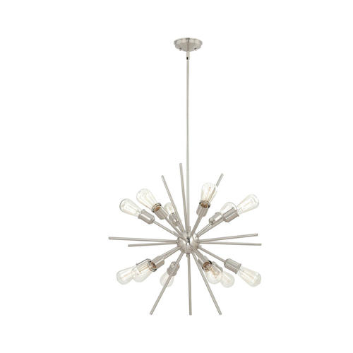 "Patriot Lighting® Oscar 27 1/2"" 12 Light Satin Nickel Intended For Corona 12 Light Sputnik Chandeliers (Image 20 of 20)"