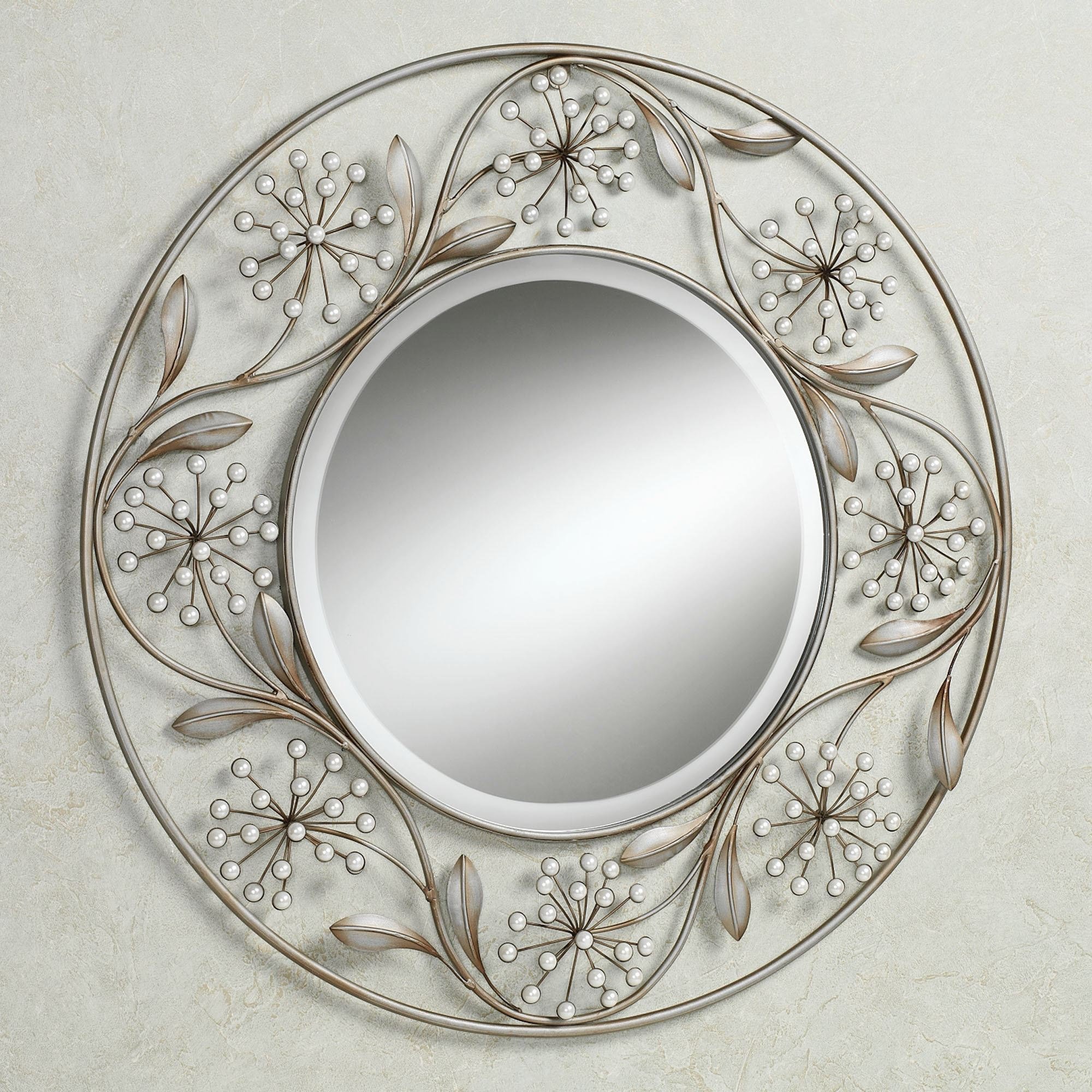 Pearlette Round Metal Wall Mirror Inside Decorative Round Wall Mirrors (Image 15 of 20)